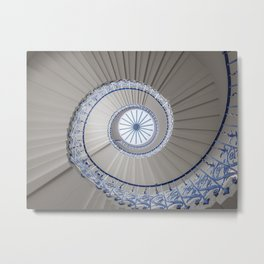 Geometric shapes of a spiral staircase in Greenwich London | Travel photography London Metal Print