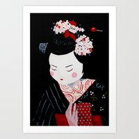 geisha Art Prints featuring Geisha by Maripili