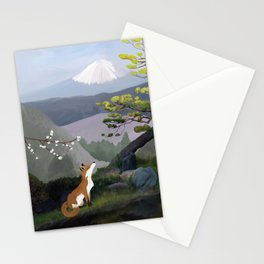 Fuji-san, kitsune and sakura (Mt Fuji, fox and cherry blossom) Stationery Cards