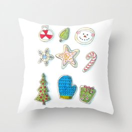 Christmas Cookies Watercolour Painting Throw Pillow