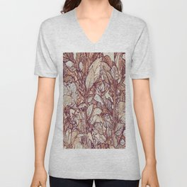 abstract camouflage leaves Unisex V-Neck
