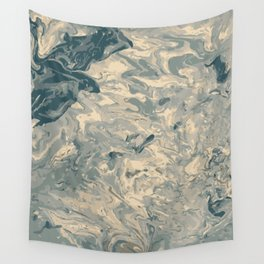 Baesic Monochromatic Paint Pour (Pale Blue) Wall Tapestry