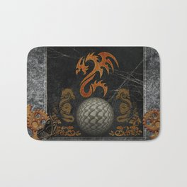 Awesome tribal dragon made of metal Bath Mat