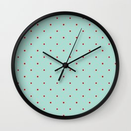 Blue with Red Dots Wall Clock