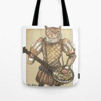 banjo Tote Bags featuring Banjo Cat by Felis Simha