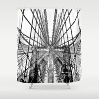 brooklyn bridge Shower Curtains featuring Brooklyn Bridge by magnez2