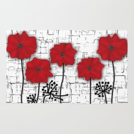Poppies red n white background . Rug