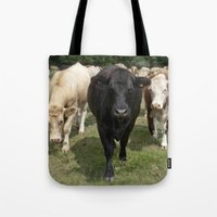 cows Tote Bags featuring Cows by Rachel's Pet Portraits