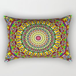 Happy Colorful Jungle Garden Mandala Rectangular Pillow
