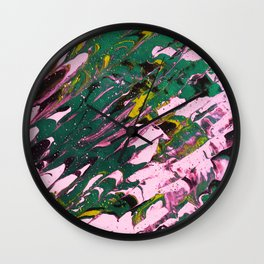 Fluid Acrylic Painting Multi Color Glitch Wave Effect Black Pink Lime Green Wall Clock
