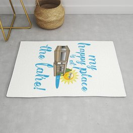 My Happy Place is at The Lake Happy Camper design Rug