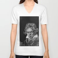 beethoven V-neck T-shirts featuring Beethoven by Sean Villegas