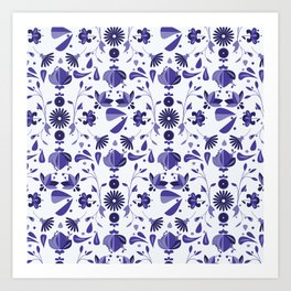 Blue Flower Bohoo Pattern Art Print