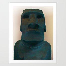 Easter Island Blue Man Statue Art Print