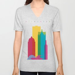 Shapes of Milwaukee. Accurate to scale Unisex V-Neck