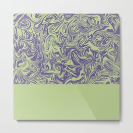 Liquid Swirl - Lettuce Green and Ultra Violet Metal Print