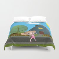 chibi Duvet Covers featuring Chibi Girl by ChibiGirl