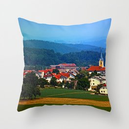 Village skyline on a summer afternoon Throw Pillow