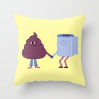 toilet Throw Pillows featuring SBF: Poop & Toilet Paper by Mauro Gatti