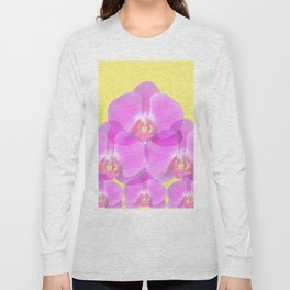 TROPICAL PINK ORCHIDS & YELLOW FLORAL ABSTRACT Long Sleeve T-shirt