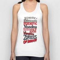 movie posters Tank Tops featuring B Movie Beware by ochre7