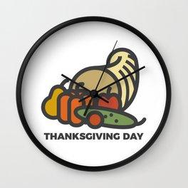 Happy Thanksgiving Day Cornucopia Design Wall Clock