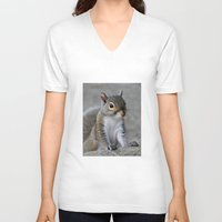 squirrel V-neck T-shirts featuring Squirrel by Charlene McCoy