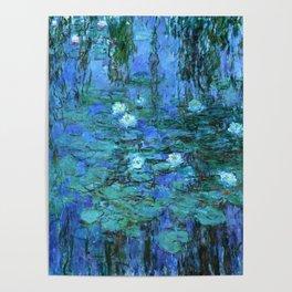 Claude Monet Water Lilies BLUE Poster