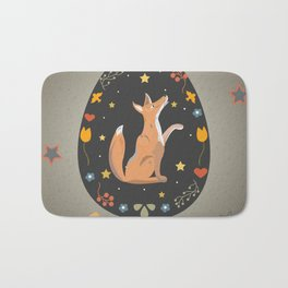 Festive Easter Egg with Cute Character of Fox Bath Mat