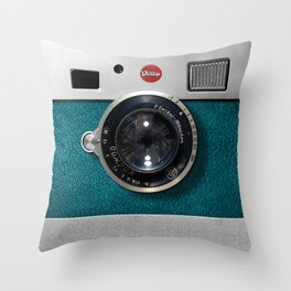 Blue Teal retro vintage camera with germany lens Throw Pillow