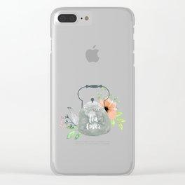 Watercolor Flower Teapot Clear iPhone Case