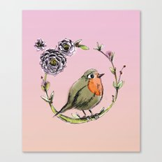 Rouge gorge - Rose Canvas Print