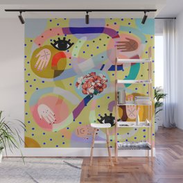 abstract evil eye , female hands, dots, love, flowers Wall Mural
