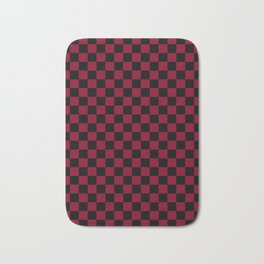Black and Burgundy Red Checkerboard Bath Mat