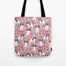 Papillon pet friendly small cute dog breed must have gift for dog lover florals dog pattern print Tote Bag