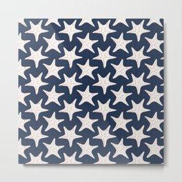 Sea Stars Pattern Navy Blue Metal Print