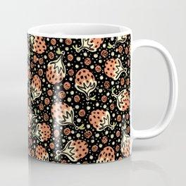 Wild Strawberry Field , Woodcut Style Fruit Pattern Illustration Red on Black Coffee Mug