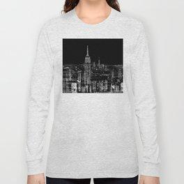 Contemporary Elegant Silver City Skyline Design Long Sleeve T-shirt