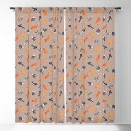 Cat Pattern | Light Brown Background | Cats Illustration Blackout Curtain