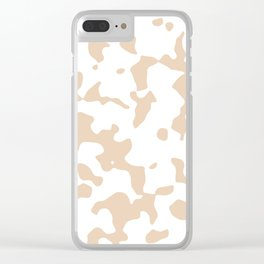 Large Spots - White and Pastel Brown Clear iPhone Case