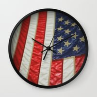 american flag Wall Clocks featuring American Flag by alltheprettythings