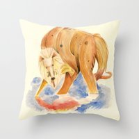 inner demons Throw Pillows featuring Reflecting on my inner demons by Squibler