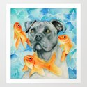 Guardian | Pit Bull Dog and Goldfishes Watercolor Painting by namibear