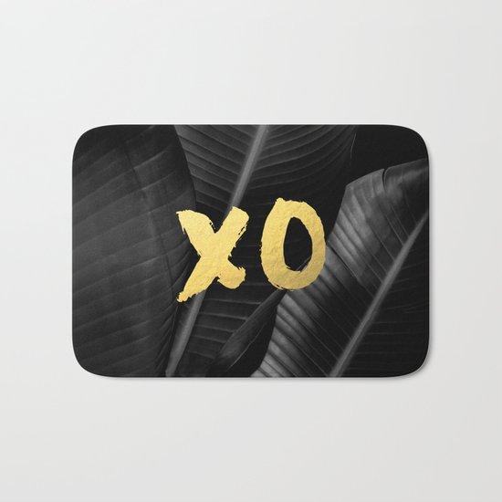 XO gold - bw banana leaf Bath Mat