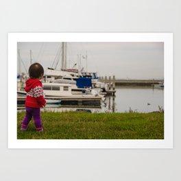 Girl At The Pier Art Print