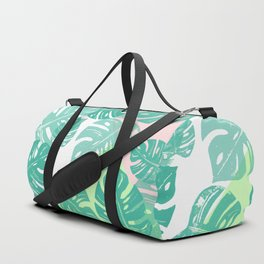 Linocut Monstera Tricolori Duffle Bag