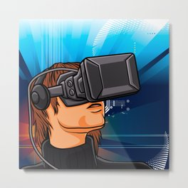 illustration of man  with headset glasses Metal Print