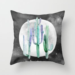 Cactus Nights Full Moon Starry Turquoise by Nature Magick Throw Pillow
