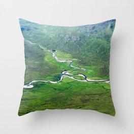 Highland Mountain Rivers Throw Pillow