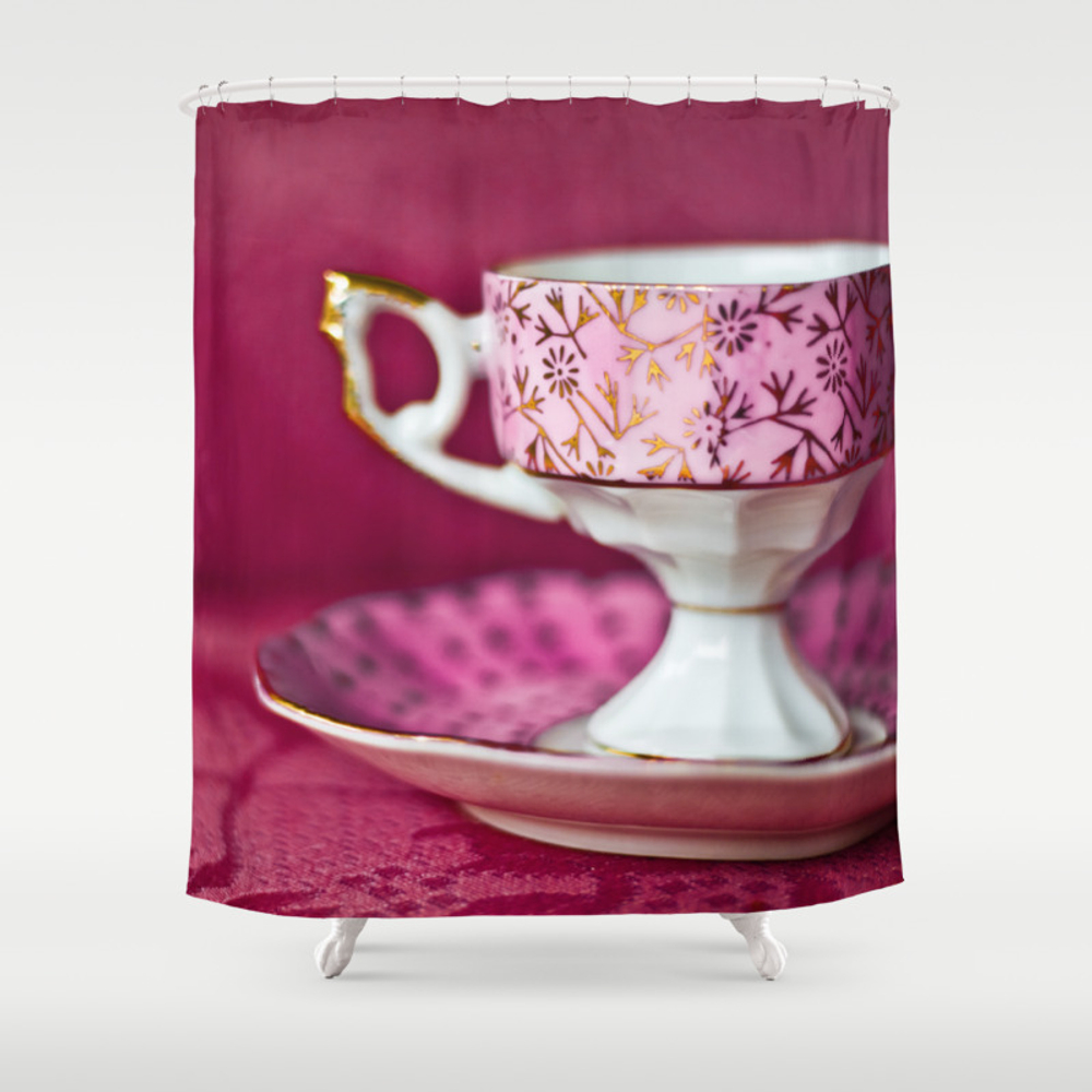 Antique Pink Cup And Saucer Shower Curtain by Dawnglesenerart CTN8048920